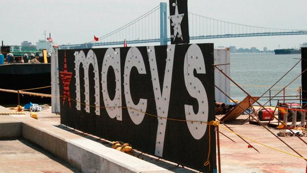 Macy's billboards are also being prepared on the pier for Monday night's big show.