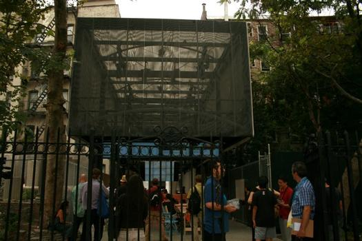 "The entrance to the BMW Guggenheim Lab. The lab's main architecture is a structural  skeleton built of carbon fiber, and designed by Atelier Bow-Wow as a ""traveling toolbox."""