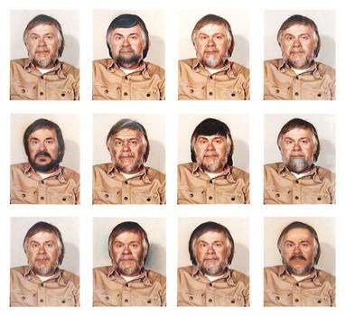 Playing with color in a self-referential way: Baldessari's 'Portrait (Self) #1 as Control + 11 Alterations by Retouching and Airbrushing.'