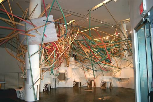 In the Bronx Museum's lobby, an installation by Jong-il Ma -- part of the museum's first ever AIM Biennial.