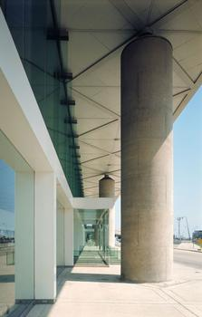 The portico of I.M. Pei's National Airlines Terminal at JFK airport.