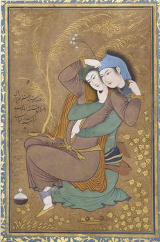 The Lovers, dated Tuesday, 8 Shawwal A.H. 1039/ May 21, 1630 A.D. Artist Riza-yi `Abbasi (ca. 1565–1635). Iran, Isfahan