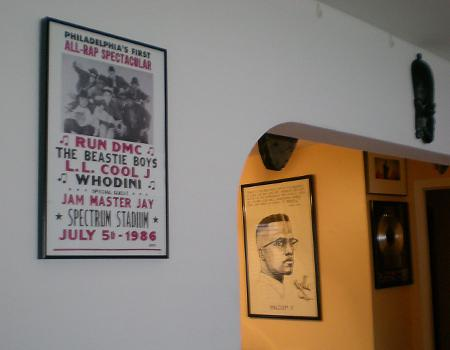 A poster of Malcolm X, displayed in the home of rapper Chuck D.