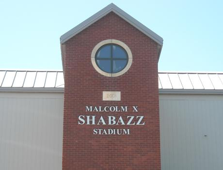 The stadium outside Malcolm X Shabazz High School in Newark, New Jersey.