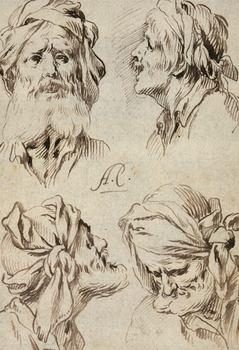 <em>Four Heads of Men, c. 1660</em>