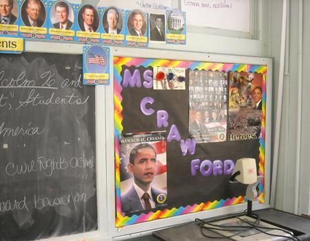 Lauretta Crawford's classroom at Malcolm X Shabazz High School.