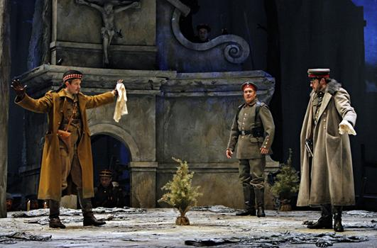 Gabriel Preisser as Lieutenant Gordon, William Burden as Nikolaus Sprink and Craig Irvin as Lieutenant Horstmayer in the Minnesota Opera production of Silent Night