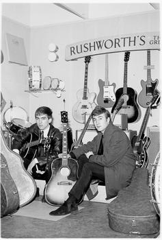 George Harrison and John Lennon at Rushworth's shop