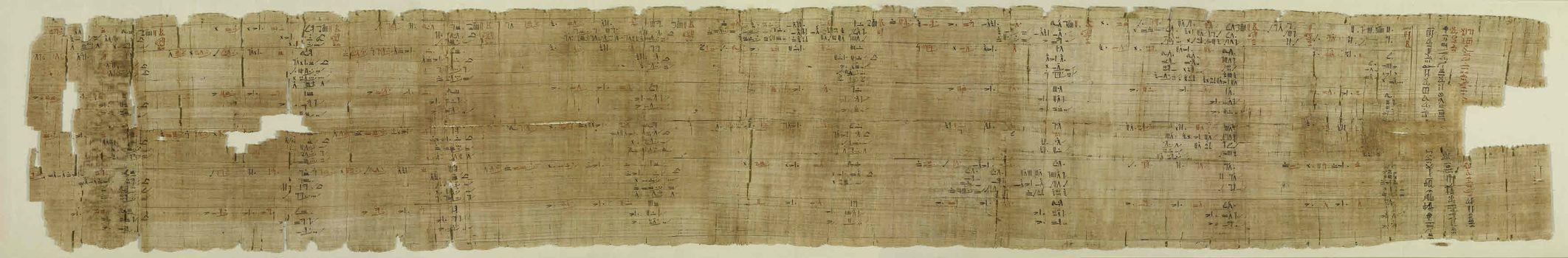 Title of the Rhind Mathematical Papyrus from the tomb of an ancient Egyptian scribe.