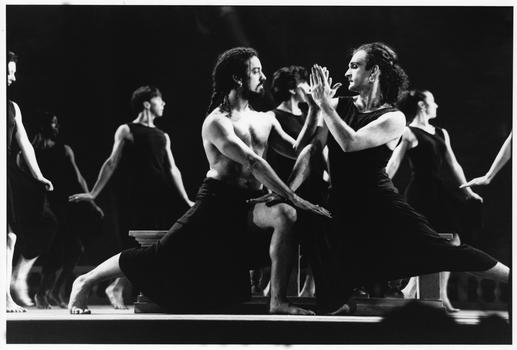 Guillermo Resto and Mark Morris (featured) in Dido and Aeneas, Mark Morris Dance Group, 1990. Photo: Tom Brazil.