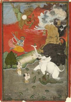 Vishnu's skin is often painted blue -- as in this 18th century water color, in which he rescues an elephant -- a cool color associated with water and sky.