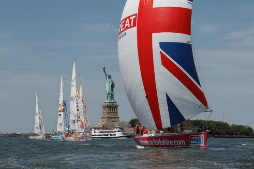 Ten British yachts passed the Statue of Liberty at around 10.30 a.m. on Sunday.