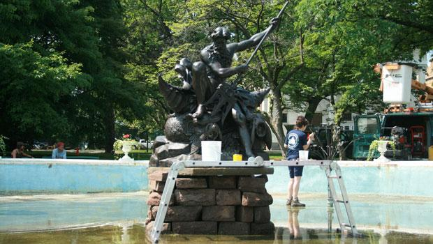 "The ""Neptune Fountain,"" cast in 1893, gets cleaned every year by the Citywide Monuments Conservation Program. The artist who created the work is not known."