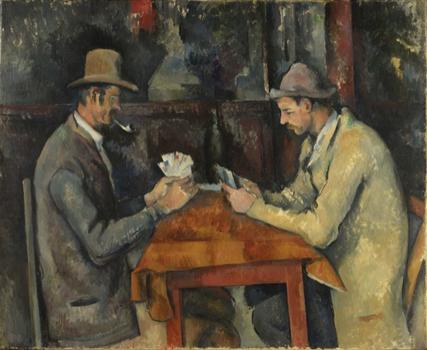 Another work from the series shows a pair of men studiously playing. The paintings are remarkable for the quiet dignity of their subjects.