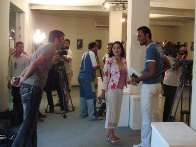 Art opening for a poster competition exhibit at the Madarat Gallery in Baghdad. Sept 2007