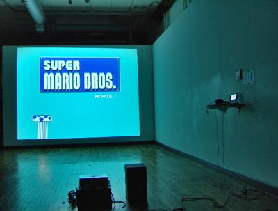"The opening shot from ""The Super Mario Movie"" (made with www.paperrad.org), a 15 minute movie made on a Mario Brothers Nintendo cartridge."