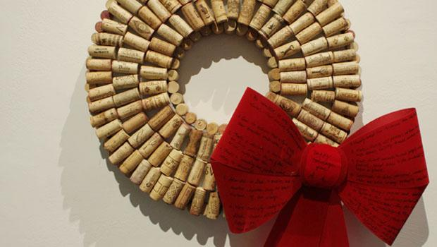 """Wreath of Corks"" by Leonora Retsas; wire, corks, foam, ribbon"