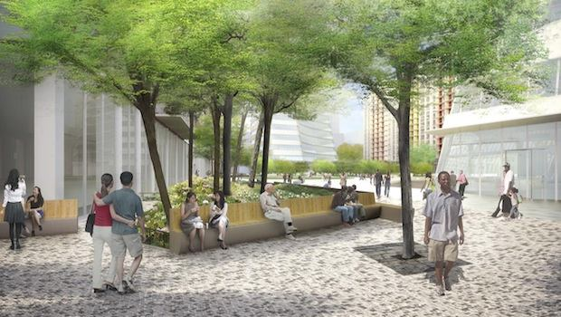 Proposed view taken from LaGuardia Place, looking East to the proposed Philosophy Garden.