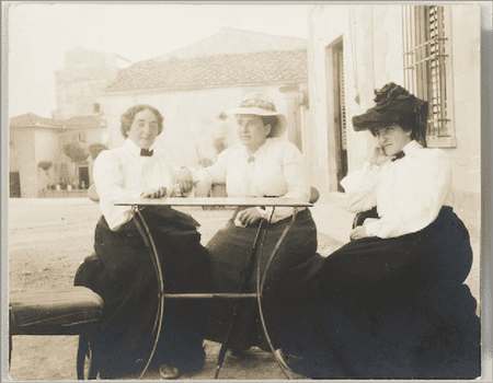 Claribel Cone, Gertrude Stein, and Etta Cone sitting at a table in Settignano, Italy, June 26, 1903.