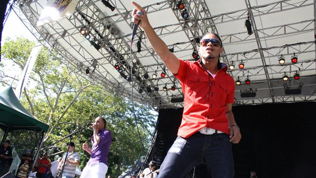 Grupo 24 Horas performs at Bachatafest at Central Park's Summerstage on August 14.
