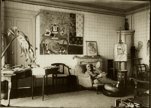 Henri Matisse in his apartment at the Place Charles-Félix in Nice, 1934.