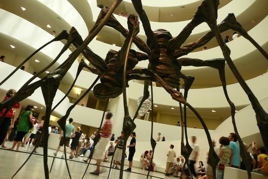 Smaller spider sculptures at her Guggenheim retrospective in 2008.
