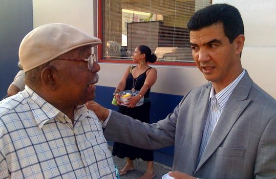 Candidate Ydanis Rodriguez meets a voter.