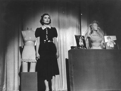 "Corsets and Brassiers Workers member Ruth Rubenstein performs ""Chain Store Daisy"" in the ""Pins & Needles"" Broadway production."