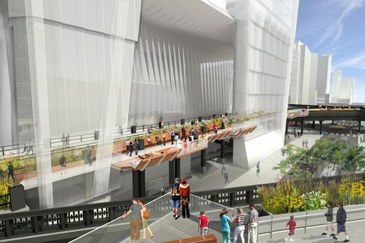 The 30th Street Passage of the High Line will pass through the yet to be built Hudson Yards Tower C.