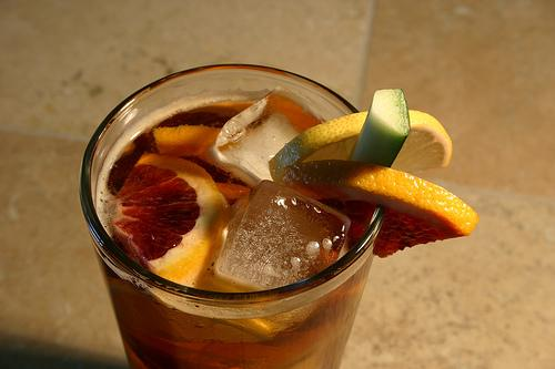 If champagne isn't your thing, you can toast with a traditional Pimm's cup, garnished with lemon, cucumber and orange.