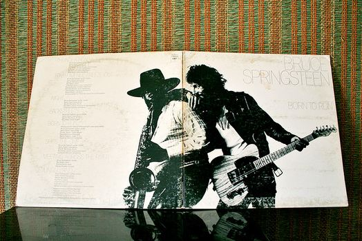 Clarence Clemons and Bruce Springsteen share the centerfold of <em>Born to Run</em>, released in 1975. The iconic photo was taken by Eric Meola.