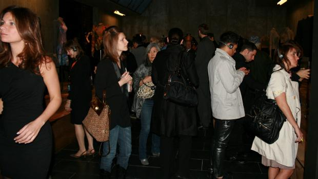 The crowd at the Alexander McQueen preview on Monday.