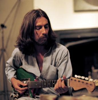 George Harrison recording the Radha Krishna Temple album, London 1969