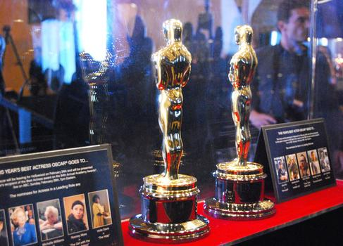 In addition to getting your picture taken with an Oscar, on view are the two statuettes that will be presented to the Best Actor and Best Actress Oscar winners during Sunday's ceremony.