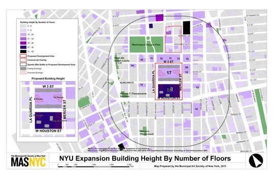 Map showing neighborhood building heights and proposed NYU building heights.