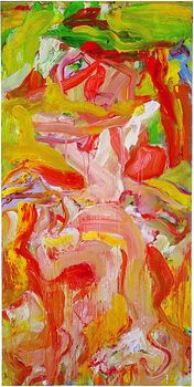 De Kooning's color palette during this time was brighter than his earlier 1950s works. 'Woman in a Garden,' from 1971, is shown here.