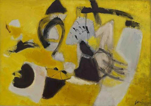 José Guerrero's 1956 painting, 'Signs and Portents.' Guerrero was born in Spain and was known for his bright canvases that evoked elements of landscape.