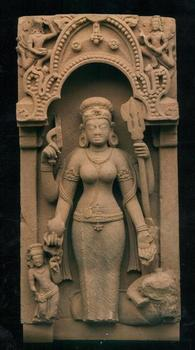 Vishnu is depicted in many guises: as a man, a woman, and one of many avatars, often with four arms. The other side of the 7th century sandstone stele shown previously has Vishnu as a woman.