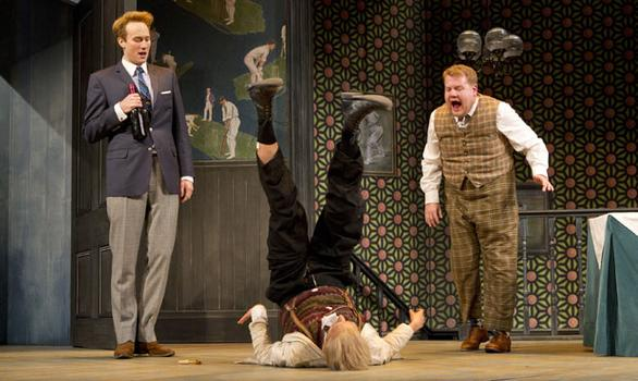 Oliver Chris, Tom Edden and James Corden (L to R) in the Broadway production of 'One Man, Two Guvnors.'