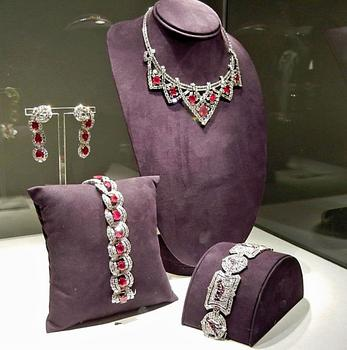 The Art Deco bracelet, along with gifts from Mike Todd: a Cartier ruby and diamond bracelet, earrings and necklace.