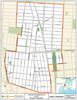 Map of area currently underserved by public space.
