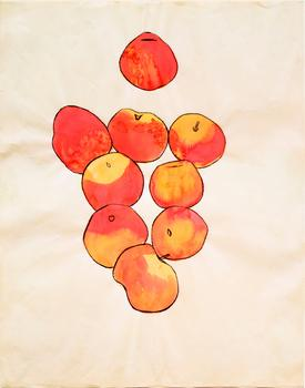 Sometimes the drawings consist of little more than pencil lines. At others, the artist uses watercolors. A sketch of some apples, from 1949, is seen above.