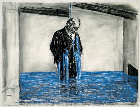 "Drawing from the film ""Stereoscope."" Art by William Kentridge. Music by Philip Miller. Charcoal, pastel, and colored pencil on paper; 35 mm film. 1998–99."
