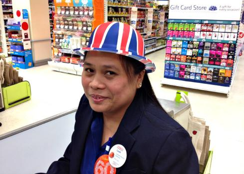 Union Jack flags were also out to celebrate 60 years of the Queen's rule, even at the supermarket.