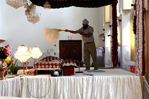 Prayers at the Sikh Cultural Center gurdwara in Richmond Hill, Queens