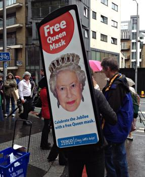 On Sunday, free 'Queen Masks' were handed out for the Jubilee.