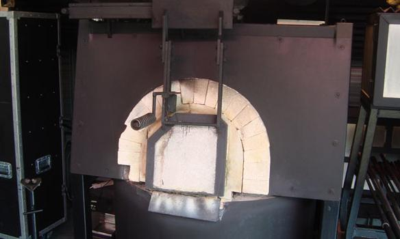 One of several ovens used to heat glass.