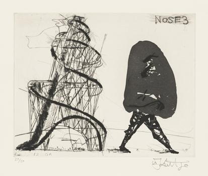 """""""Nose 3"""" from """"Nose."""" Art by William Kentridge. Music by Philip Miller. One aquatint, drypoint, and engraving from a series of thirty prints set to sound. 2007."""