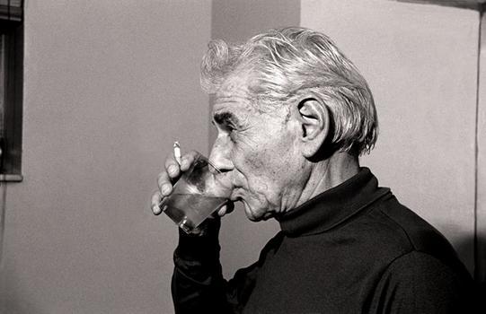 Leonard Bernstein in a Carnegie Hall dressing room, November 17, 1985.