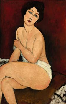 Amedeo Modigliani's <em>Nu Assis Sur un Divan (La Belle Romaine)</em> sold for $68,962,500 on Tuesday. Its estimated worth was around $40 million.